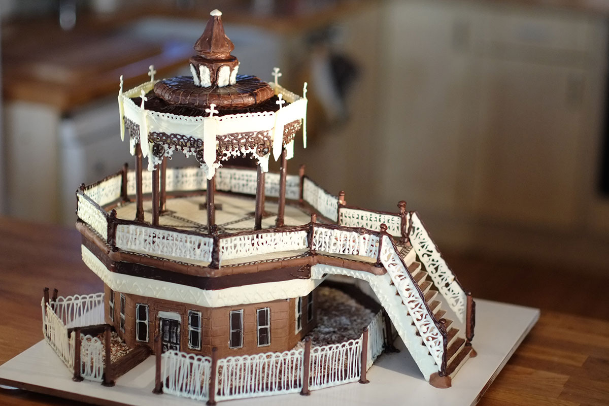 The Brighton Bandstand cake with the roof, terraces, cafe, dance floor, stairs, railings all handmade using delicious white dark and milk chocolate
