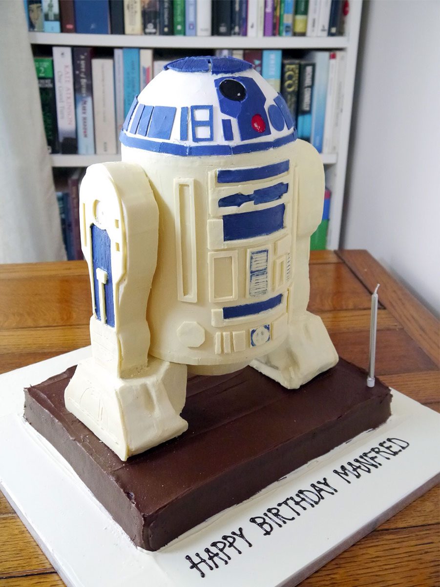 three-foot tall white chocolate sculpture of R2D2 for a birthday