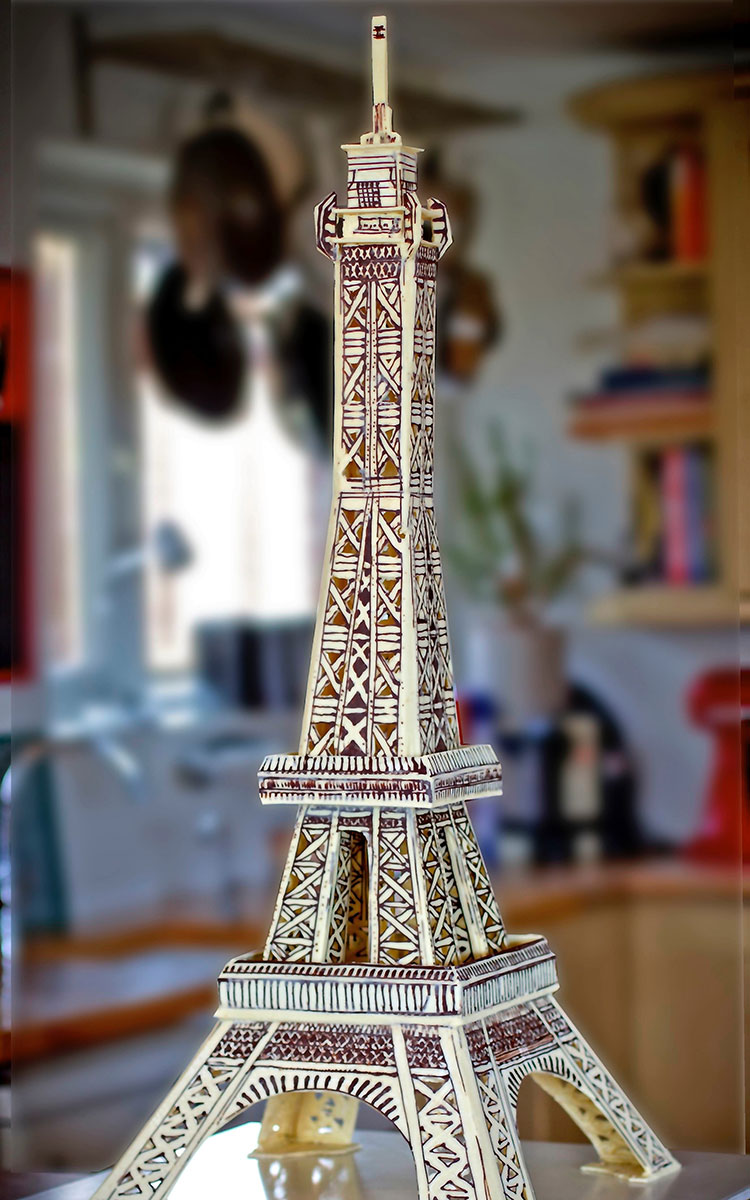5 foot tall white and dark chocolate Eiffel Tower Paris sculpture