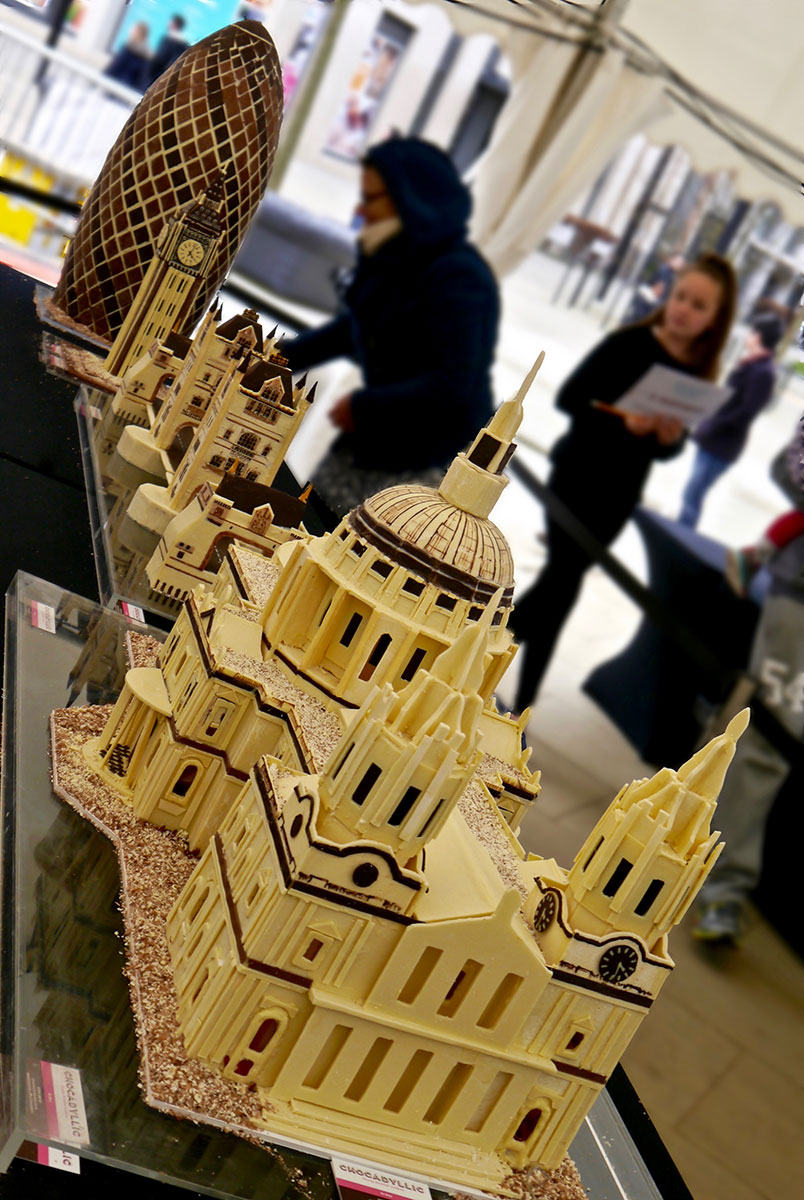 5 meter long chocolate London skyline of St Pauls Cathedral, Tower Bridge, Big Ben and The Gherkin. All handmade in white, milk and dark chocolate. Four weeks work done night and day in 3 weeks for the London Chocolate Festival 2016