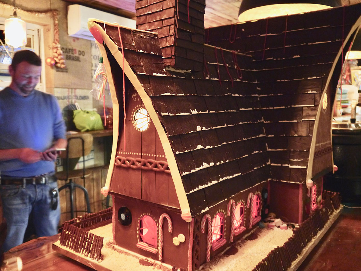 Giant Hansel and Gretal witch's house made from chocoalte