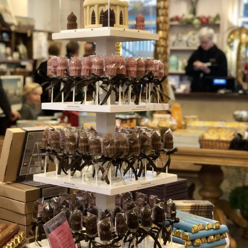 Royal Pavilion hot chocolate lollipops display at the pavilion shop
