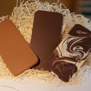 iPhone Chocolate Bars, milk, dark and swirly mix bars on a bed of straw - weighing 80g