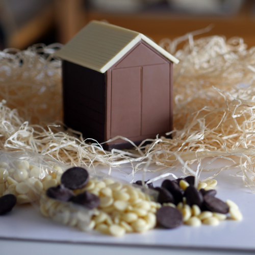 triple chocolate Hove Actually beach hut foreground chocolate buttons