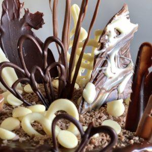 chocolate bonkers chocolate birthday cake close up view