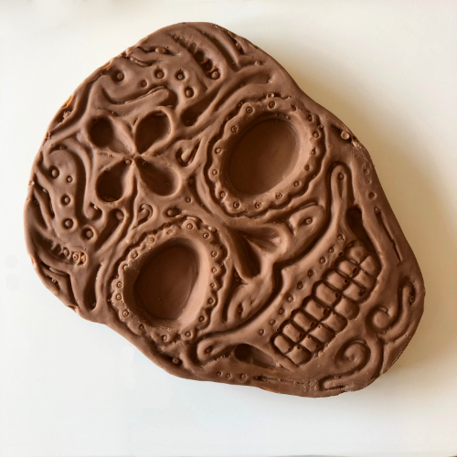 100g milk chocolate pretty decorative day of the dead skull about 10cm long
