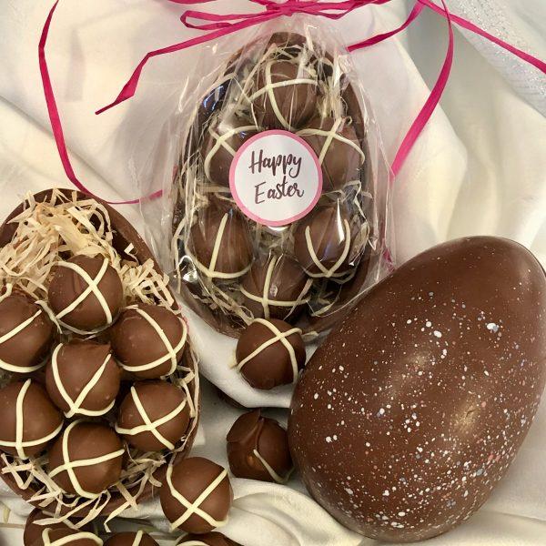 Hot Cross Bun Truffles Filled Easter Egg - Half Shell