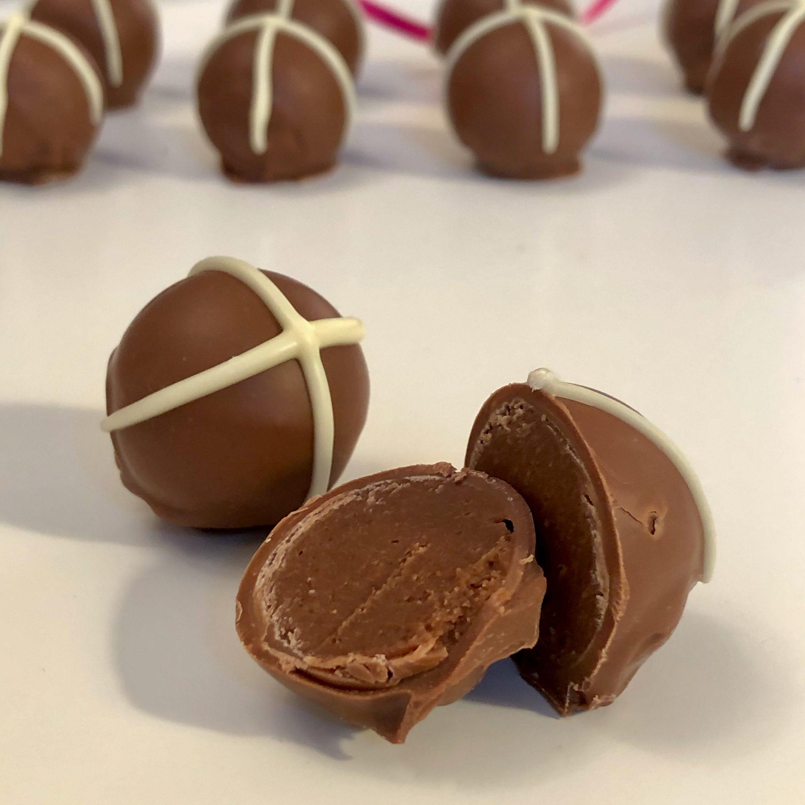Assorted Chocolate Hot Cross Bun Easter Truffles (box of